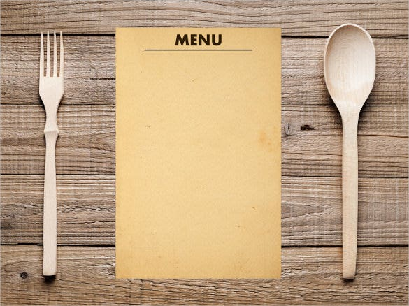 blank menu alomg with fork and spoon