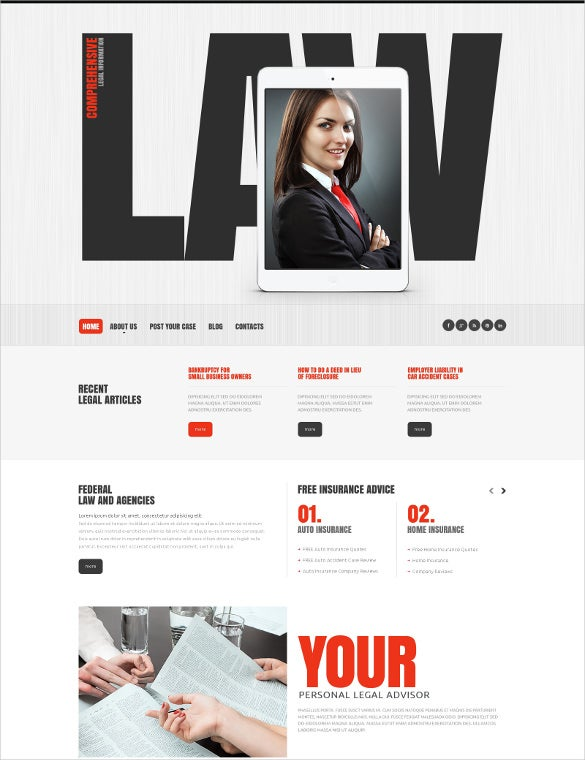 law legal firm responsive website blog template