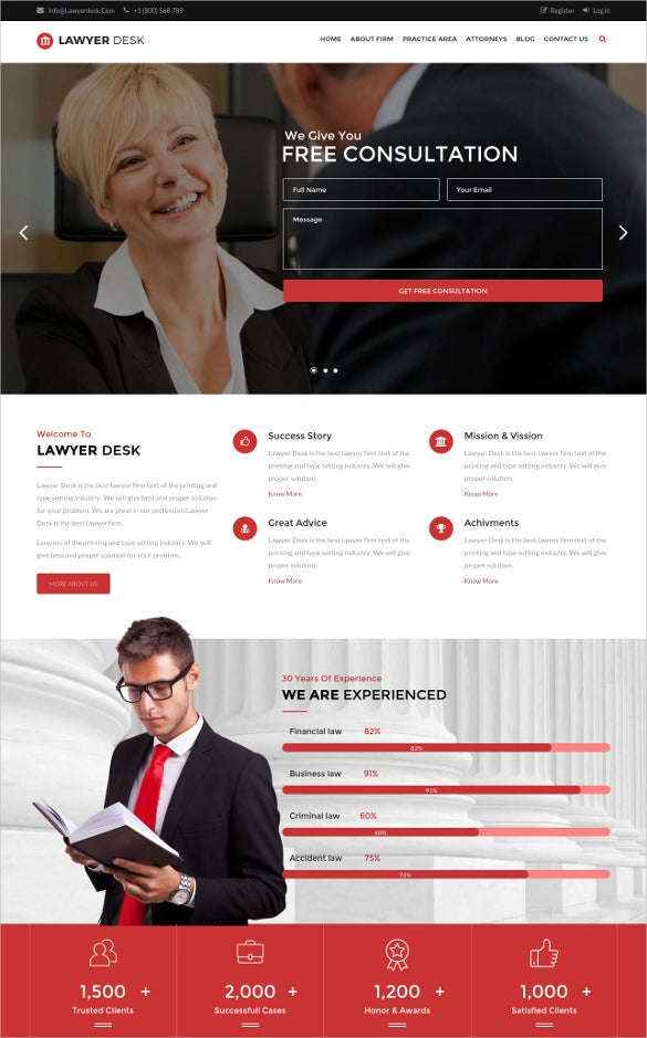 multipage law legal responsive blog template