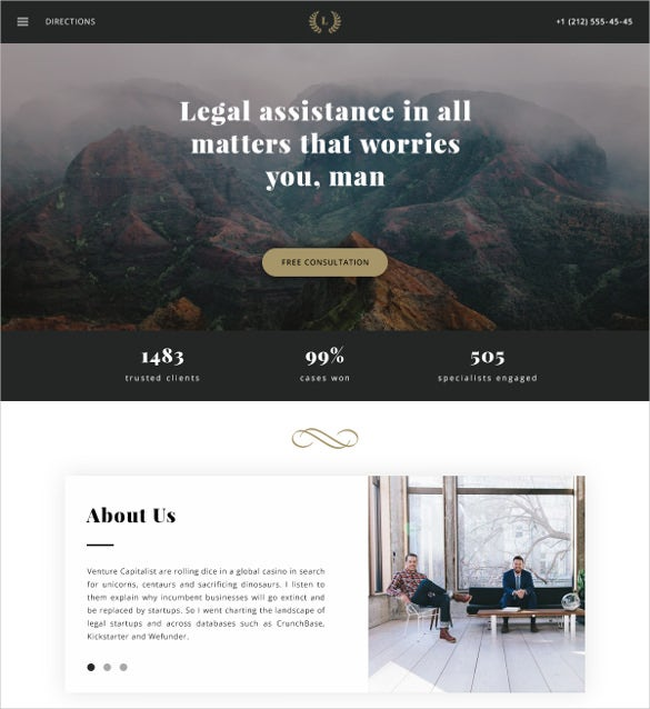 law legal psd blog template