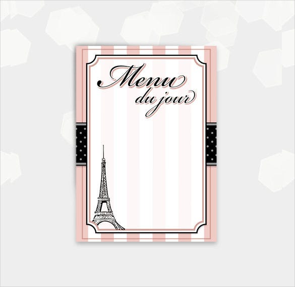 paris themed blank menu card