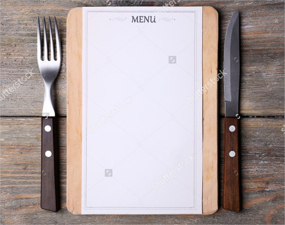 Cutting Board With Blank Menu Sheet