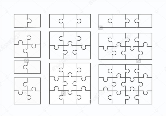 Pin puzzle template vector downloads genuardis portal on for Jigsaw puzzle template for word