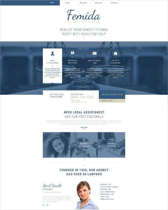 law legal responsive website html5 template