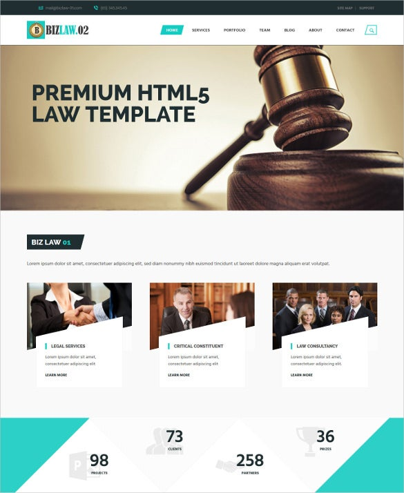 premium html5 law legal template
