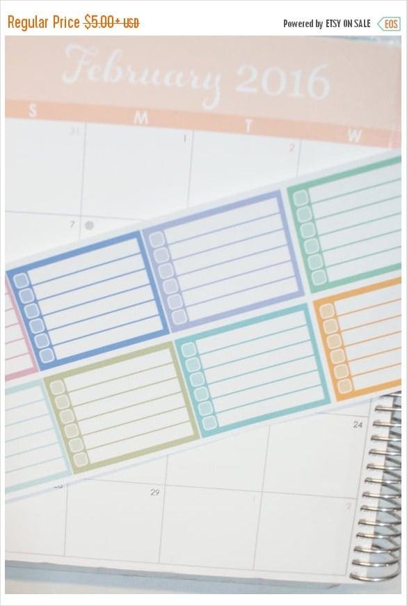 8 blank checklist planner