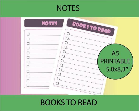 book list printable checklist