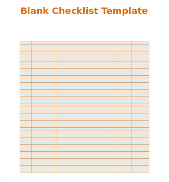 Simple Blank Checklist Template. Free Download  Download Checklist Template