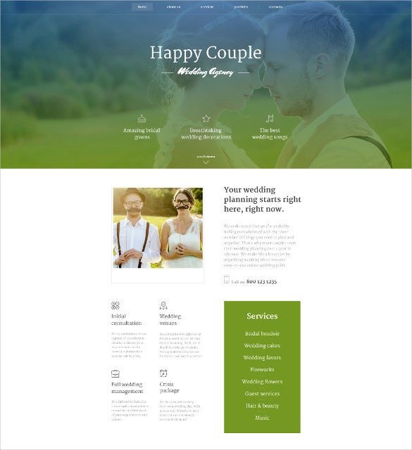 happy couple wedding website template