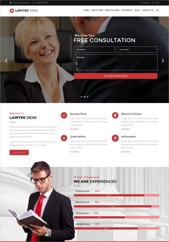 multipage law legal responsive html5 template