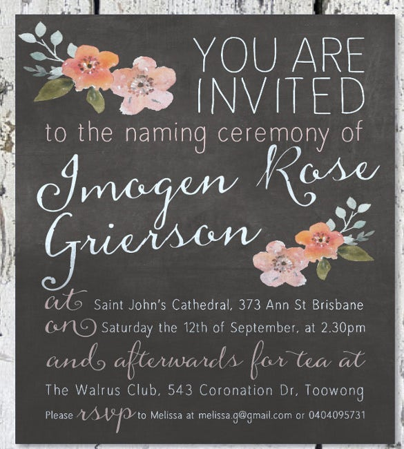 35 naming ceremony invitations free psd pdf format download floral christening baptism naming ceremony invitation yadclub Image collections