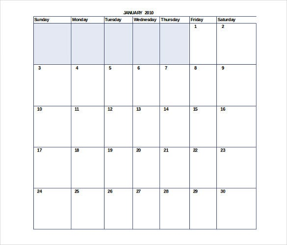 sample monthly calender itinerary for events 1