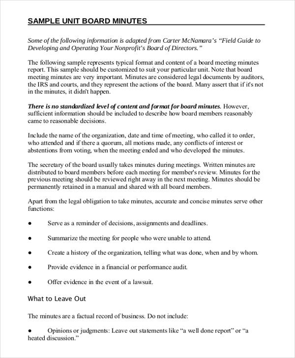 minutes writing template  u2013 10  free word  pdf documents
