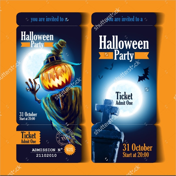 Printable Ticket Halloween Party