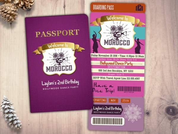 Night Girl Pink Purple Invite Ticket Template