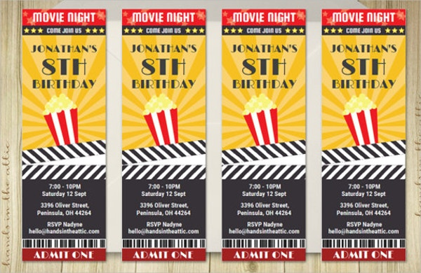 Printable Movie Ticket invite