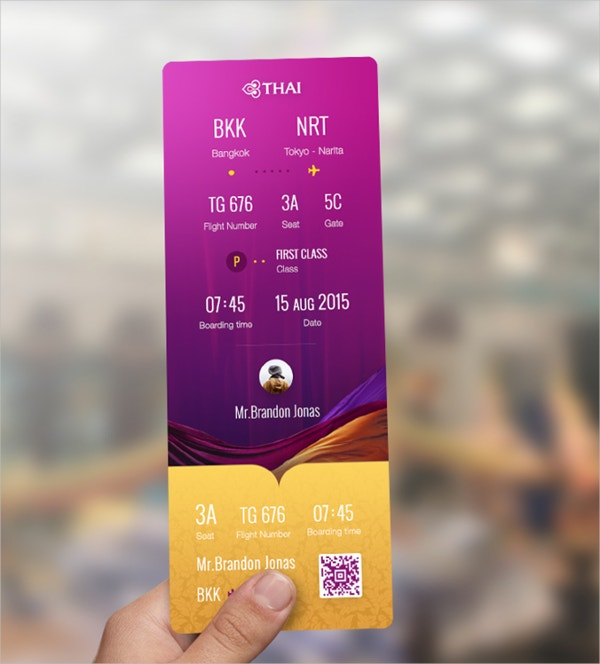 Printable Airways Ticket Redesign Template
