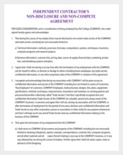 Independent Contractor Non-Compete Agreement Form