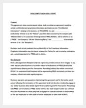 Vendor Non-Compete Agreement Sample