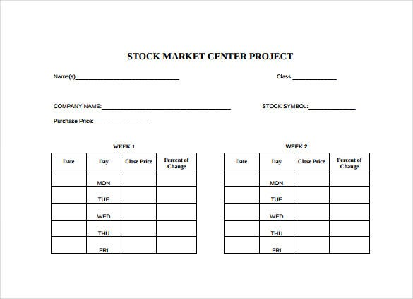 stock market project spread sheeet free pdf template download