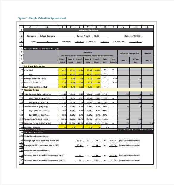 stock valuation spreadsheet pdf template free download