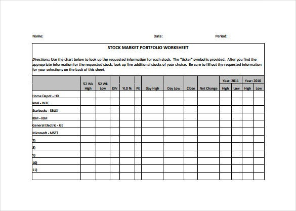stock market portfolio spreadsheet pdf template download