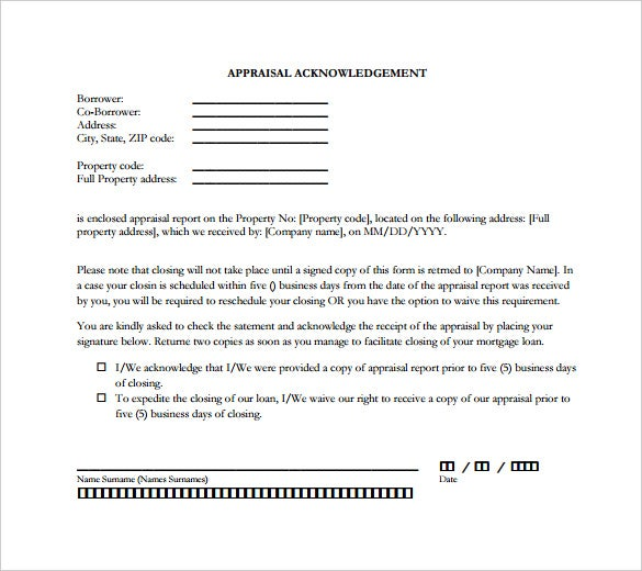Appraisal Acknowledgement Letter  Acknowledgement Letter Templates