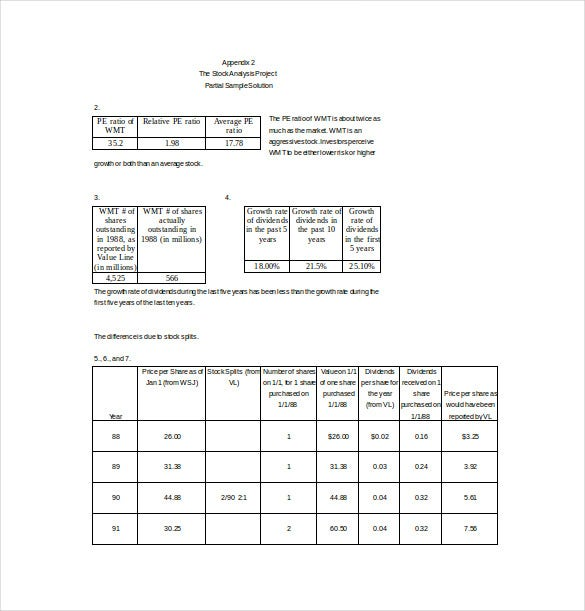 stock analysis project spreadsheet word template free download
