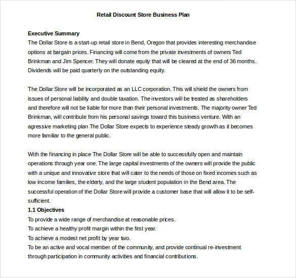 retail discount store business plan