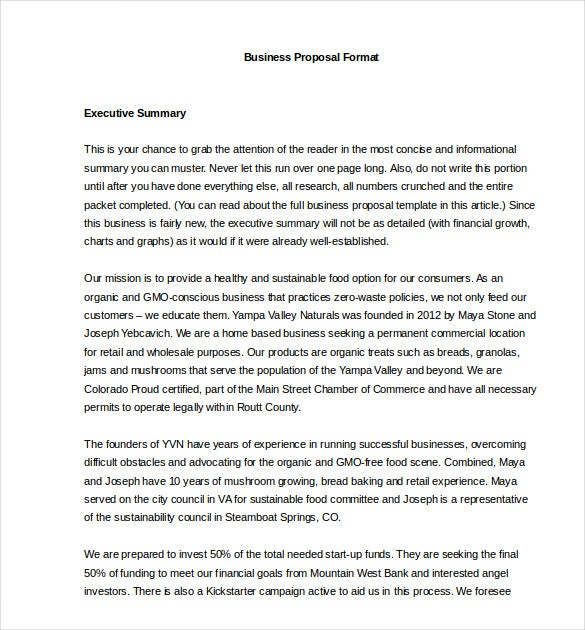 Business Proposal Template 31 Free Word PDF documents Download – Executive Summary Proposal Template