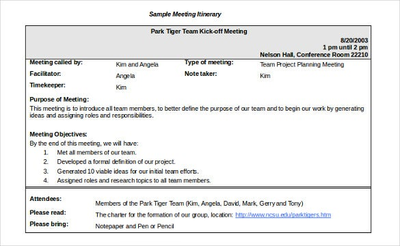 Meeting Itinerary Templates  Sample Example Format Download