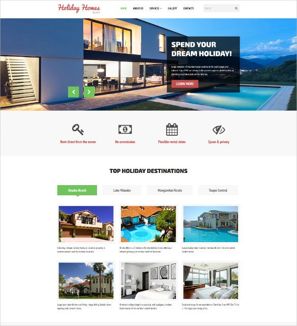 holiday homes for rent real estate website template