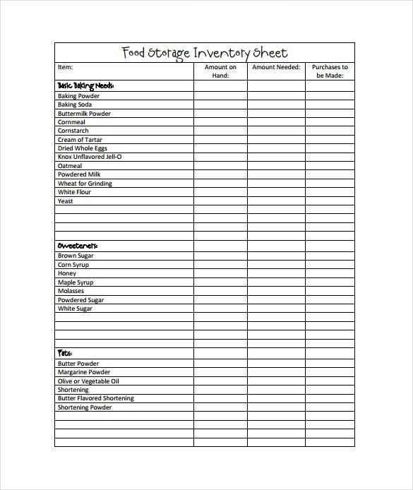 Food Storage Inventory Sheet Template Free Download With Inventory Sheet Sample