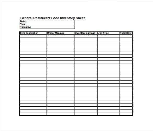 general restaurant food inventory spreadheet free pdf template download