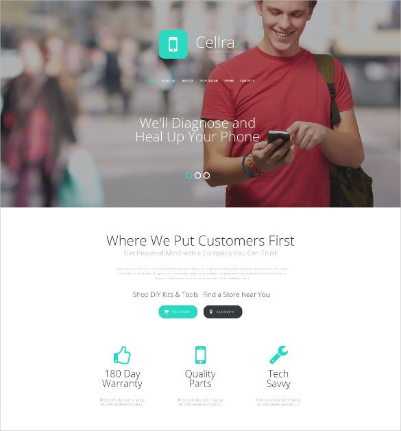 cellrax website mobile template