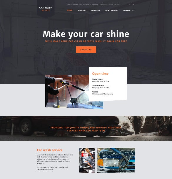carwash html5 website template