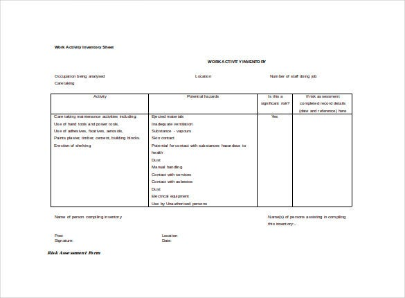 work activity inventory spreadsheet word template free download