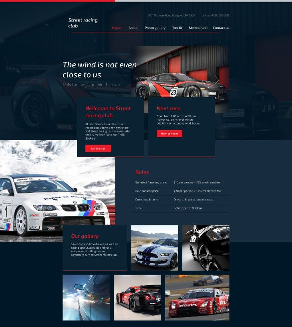 car club responsive html5 website template