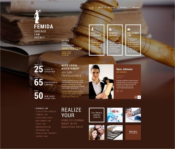 law legal responsive website php template