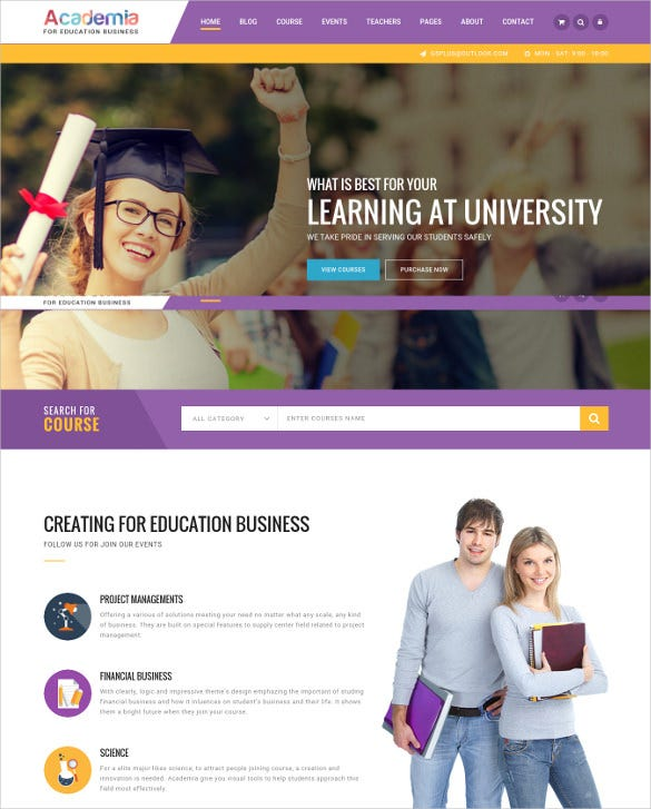 education center wordpress html5 website theme