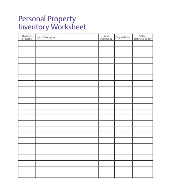 personal property inventory spreadsheet free pdf download