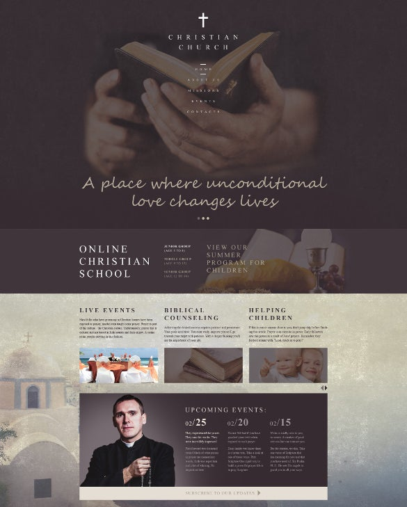simple clean christian responsive website template