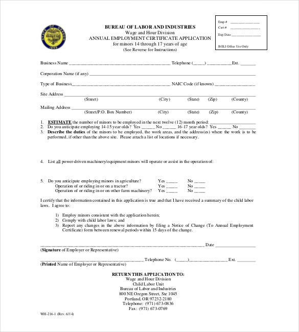 annual employment certificate application