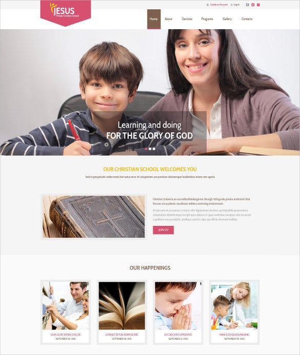 private christian school website template