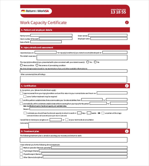 work capacity certificate