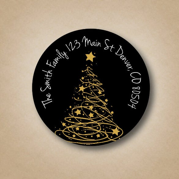 gold tree black address labels custom christmas address labels