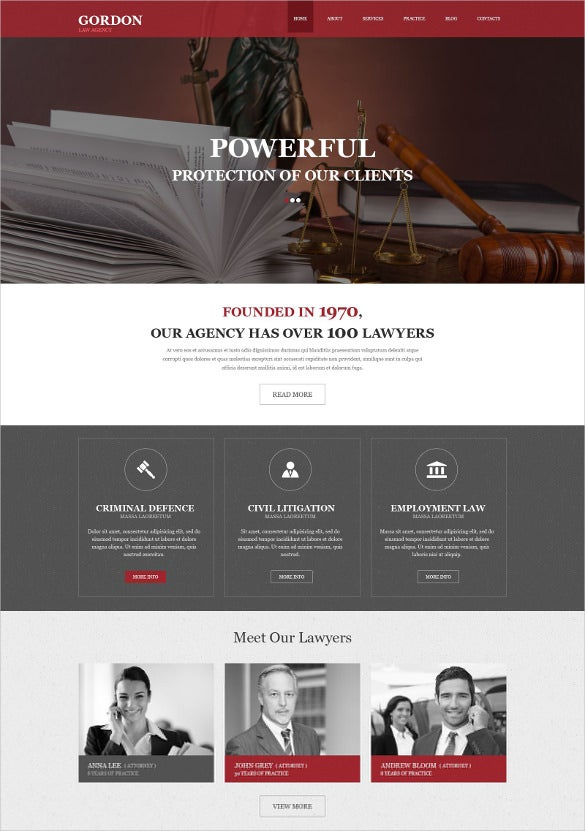 law legal muse php template