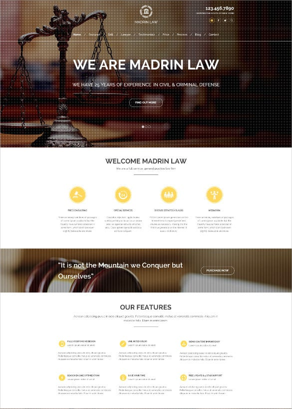law legal firm one page html php template