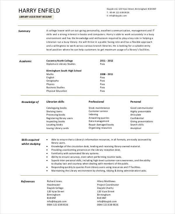 Librarian Assistant Resume Template