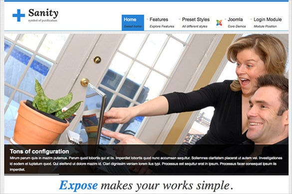 sanity marketing joomla template
